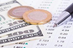 résultats des données financières et financières photo
