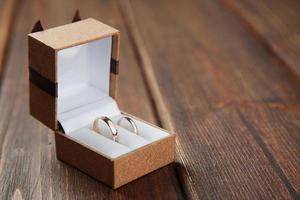anneaux de mariage dans le cas photo
