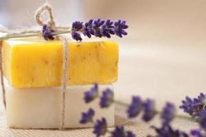 barres de savon à la main avec des fleurs de lavande, DOF peu profond photo