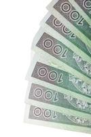 tas de factures en monnaie polonaise photo
