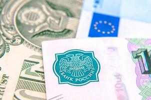 monnaie mondiale - dollars, euros, roubles russes photo