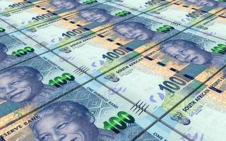 factures de rands sud-africains piles fond. photo