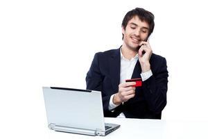 homme d'affaires, achats en ligne