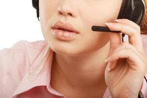 Closeup portrait of female customer service represent or ca photo