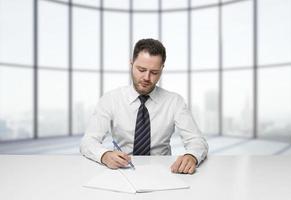 homme affaires, écriture photo