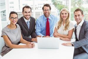 gens affaires, portable utilisation, dans, bureau