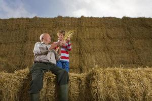 agriculteur et petit-fils assis sur une pile de balles de foin photo