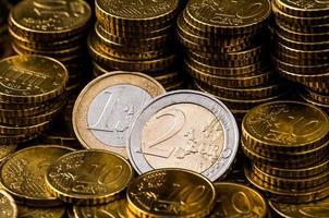 Deux euros pièce closeup finance concept photo
