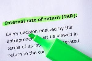 taux de rendement interne (irr) photo