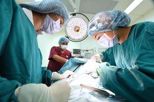 groupe de chirurgie vétérinaire en salle d'opération photo