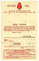 avis final de l'impôt britannique sur le revenu, 1940-1941