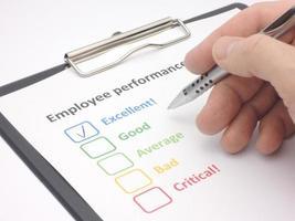 évaluation du rendement des employés - excellente photo