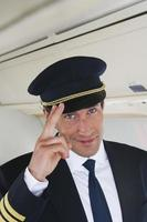 fin, haut, commandant de bord, saluer, avion photo