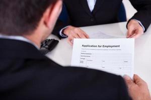 entretien d'embauche et formulaire de demande photo