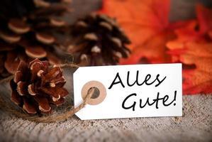 étiquette d'automne avec alles gute photo