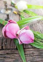 fleur de lotus rose sur fond de bois