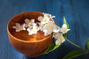 spa. fleurs blanches dans un bol d'eau photo