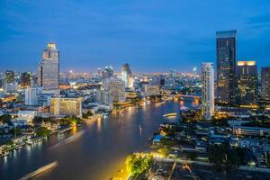bangkok city at night time, hotel and resident area photo