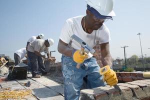travailleurs de la maçonnerie. photo