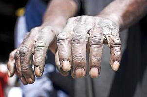 les mains du vieil homme travaillant