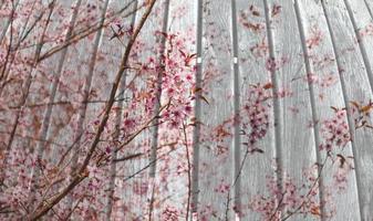 planche de bois avec fleur sur double exposition technique