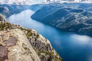 preikestolen, chaire rocheuse à lysefjorden (norvège). un t bien connu