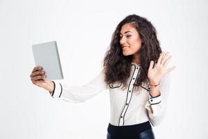 femme affaires, confection, chat vidéo, sur, tablette, informatique photo