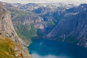 Beau paysage d'été norvégien paysage de montagne près de Trolltunga, Norvège photo