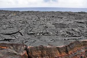 Champ de lave, parc national des volcans d'Hawaï (USA) photo