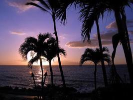 Coucher de soleil torche hawaïenne tiki torche, maui