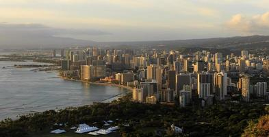 Honolulu de Diamond Head au coucher du soleil photo