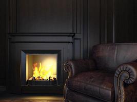 fauteuil et cheminée photo