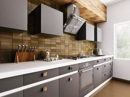 intérieur de cuisine moderne 3d photo