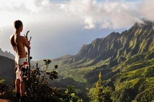 L'homme regarde sur la vallée de Kalalau à Kauai, Hawaii au printemps