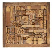 Résumé de blocs d'impression typographique photo