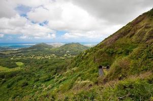 vue d'Oahu depuis le belvédère de Pali.