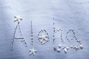 aloha beach écrit avec des coquillages photo