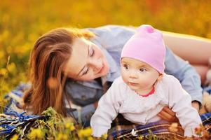 famille heureuse, maman et belle fille.