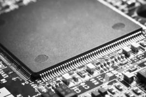 fermeture du microprocesseur sur la carte mère. photo