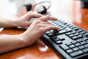 femme, dactylographie, clavier photo