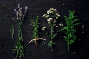 herbes françaises sur la vue de dessus de bureau noir photo