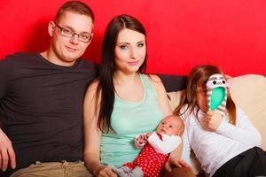 famille, à, nouveau né, bébé, girl, portrait