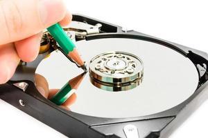 écriture de données sur le disque dur photo