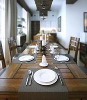 salle à manger, style rustique et moderne photo