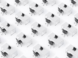 vue de dessus des lieux de travail d'entreprise symétriques sur sol blanc photo
