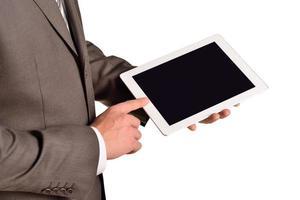 homme affaires, tenue, tablette numérique, closeup