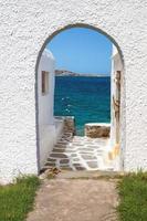vue panoramique sur l'île de mykonos, grèce photo