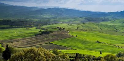 coucher de soleil à cortona. Toscane pienza. Italie. L'Europe .