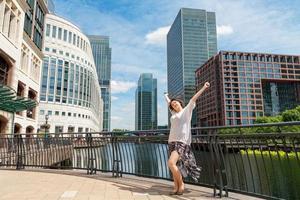 femme appréciant le soleil. Londres, Angleterre photo