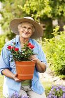 femme aînée, à, fleurs, dans, jardin